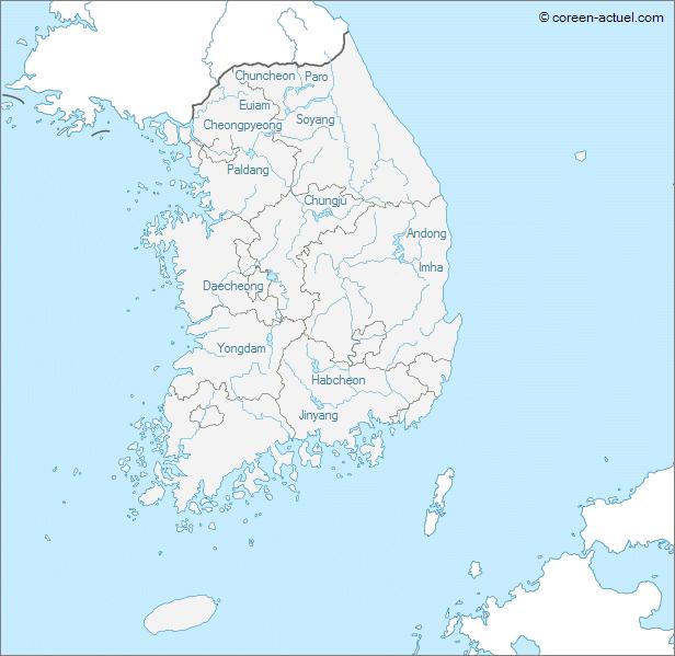 Carte des grands lacs de la Corée du Sud