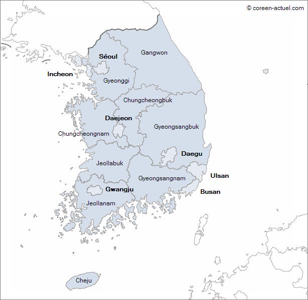 Carte des provinces de la Corée du Sud
