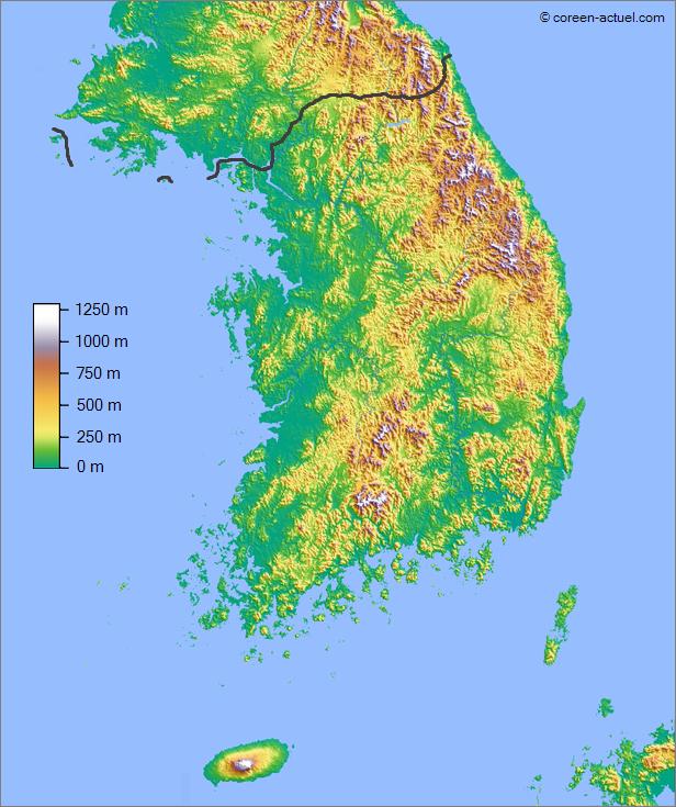 Topographie de la Corée du Sud